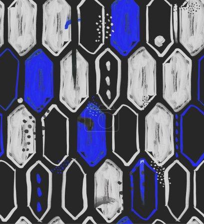 Photo pour Motif sans couture avec hexagones verticaux aquarelle, points, lignes, coups de pinceau et formes abstraites, arrière-plan haute résolution pour le web et l'impression - image libre de droit