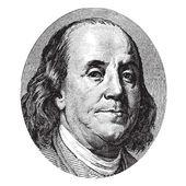 Benjamin Franklin portrait from a hundred US dolla