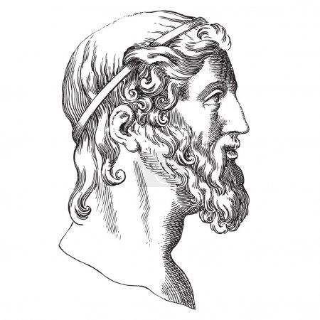 Illustration for Ancient style engraving portrait of Aristotle, the famous ancient Greek phylosopher and mathematician - Royalty Free Image