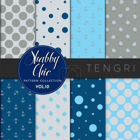 Illustration for Eight shabby chic conceptual vector seamless pattern collection, perfect for wallpapers, scrapbooking, textiles, web pages and any design as a background or design element. Tengriseries - Royalty Free Image