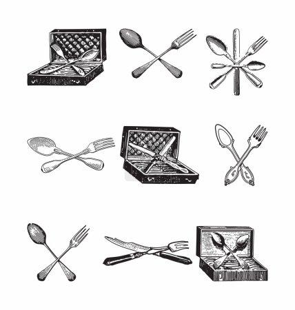 Illustration pour Gravure de style antique de couverts, cuillère, couteaux et fourchettes - image libre de droit