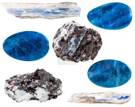 Set of kyanite crystals and polished mineral gemst...