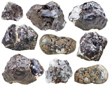 Set of Sphalerite rocks and polished mineral stone...