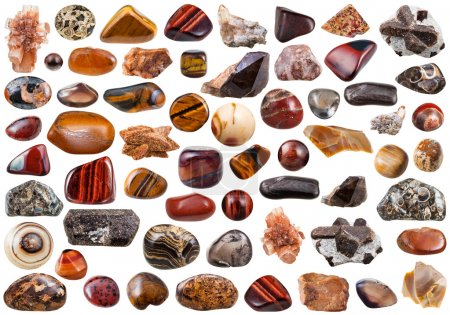 Photo pour Set of brown natural mineral stones and gemstones isolated on white background - image libre de droit
