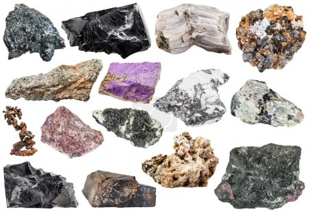 Set of various natural mineral stones and rocks: c...