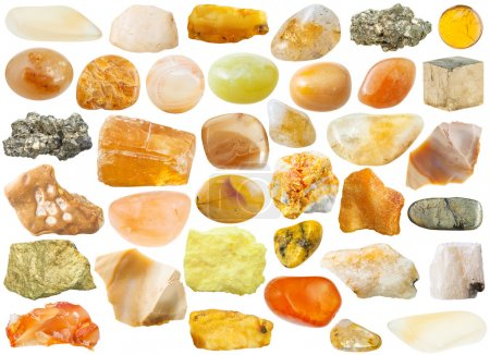 Set of yellow and orange natural mineral stones an...