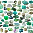 Set of green mineral stones, crystals and gemstone...