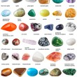 Various tumbled gemstones with names isolated on w...
