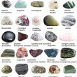 Various polished minerals with names isolated on w...
