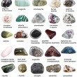 Various tumbled minerals with names isolated on wh...