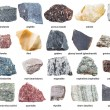 Various raw stones with names isolated on white ba...