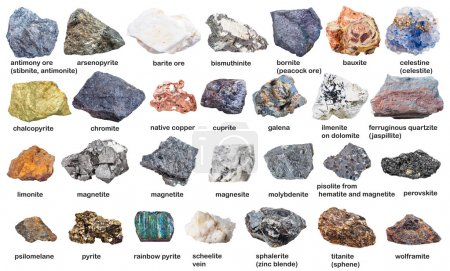 set from raw minerals and ores with names isolated