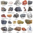 Collection from raw minerals and ores with names isolated on white background