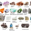 Various raw gemstones and crystals with names isol...