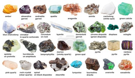 set from raw gemstones and crystals with names