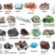 Set from various raw gemstones and crystals with n...