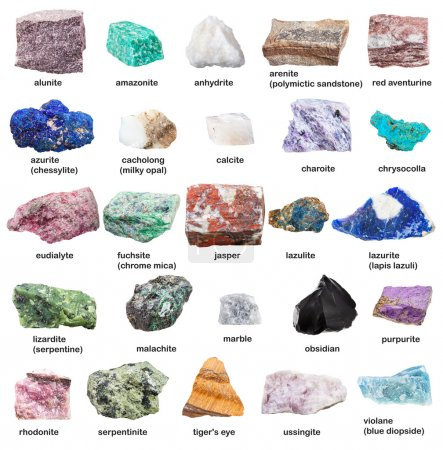 raw decorative gemstones and minerals with names