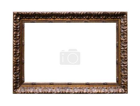 viejo marco de imagen tallada marrón oscuro con lona cortada aislada sobre fondo blanco