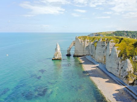 panorama of english channel coast with cliffs