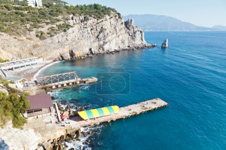 view of Parus (Sail) Rock and beach, Crimea
