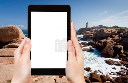 photo of lighthous on Pink Granite Coast in France