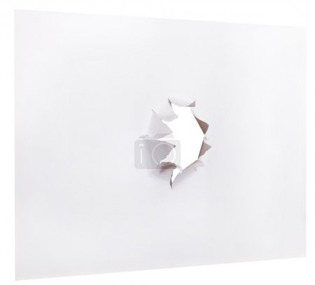 sheet of paper with punched hole isolated on white