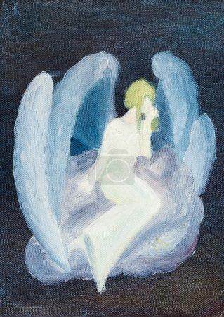 Ölgemalter weißer Engel auf Wolke am schwarzen Himmel