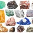 Calcite, lamprophyllite, jasper, rock-crystal, Fuchsite, magnesite, ferruginous quartzite, granitic gneiss, lazurite, galena, flint, morion, Tourmaline Dravite, pyrite gem stones isolated on white