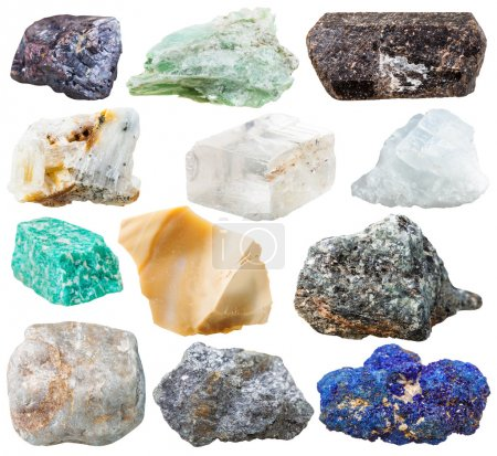 Set of natural rocks and stones - tourmaline dravi...