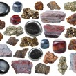 Set of natural mineral gemstones - various iron or...