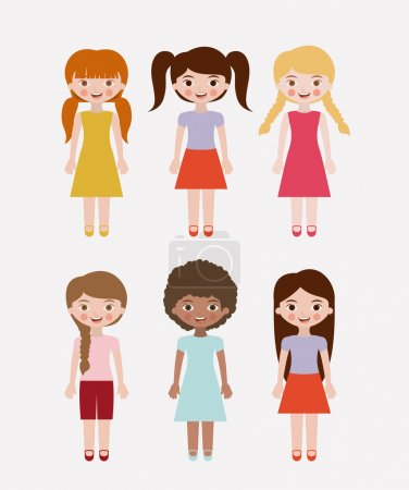 Isolated girls kids design