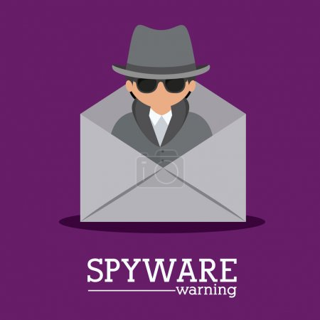 Security design over purple background, vector ill...