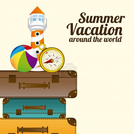 Illustration for Summer Vacation design over white background, vector illustration - Royalty Free Image