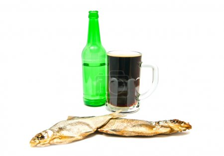 dark beer and salted fishes closeup