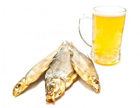 three salted fishes and beer