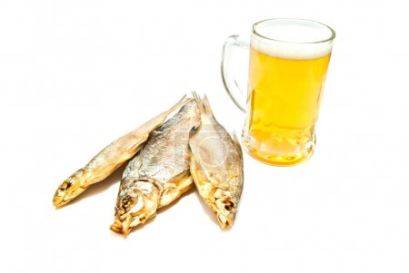 three salted fishes and beer closeup
