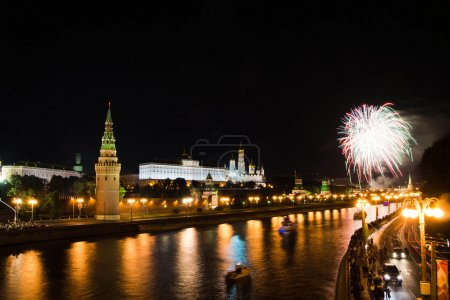fireworks in the night sky in Moscow