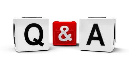 Photo pour Cubes blancs et rouges - questions et réponses - isolés sur un rendu blanc en trois dimensions - image libre de droit