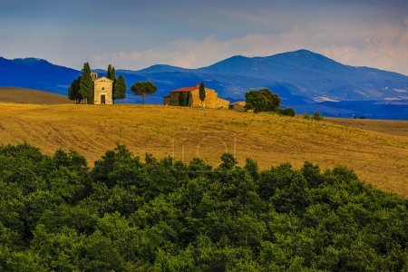 Tuscany landscape hills and meadow