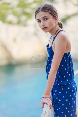 Summer vacation, portrait of lovely fashion young girl