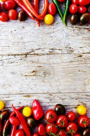 vegetables over rustic wooden background