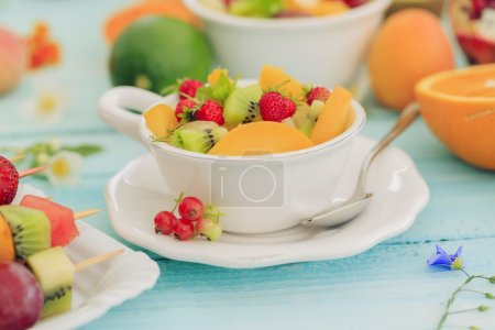 Photo for Diet, healthy fruit salad - healthy breakfast, weight loss concept - Royalty Free Image