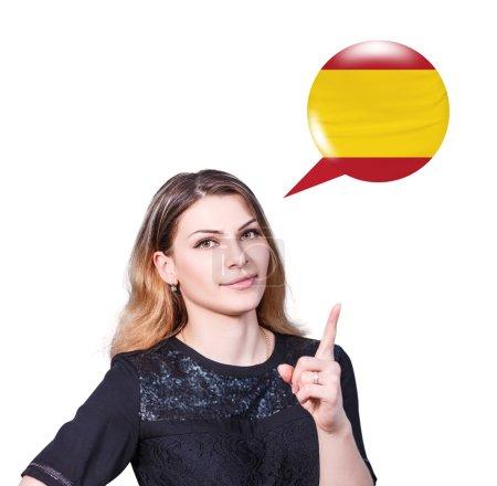 Foto de Punto joven en la burbuja con bandera alemana. Aprendizaje del concepto de lenguas extranjeras. - Imagen libre de derechos