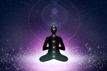 Photo pour Silhouette de jeune femme en position de yoga dans l'espace cosmoc - image libre de droit