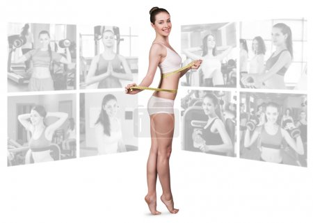Photo for Woman foreground and collage of  fitness girls in gym isolated on white background - Royalty Free Image