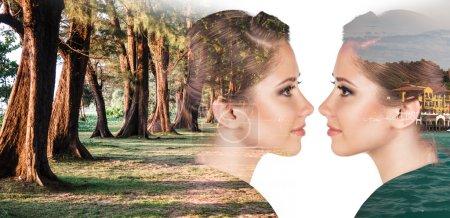 Photo pour Portrait double exposition de dame attrayante combinée avec la nature de la forêt - image libre de droit