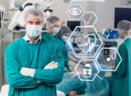 Surgery team with futuristic healthcare icons