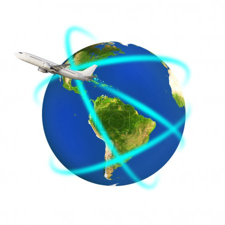 Airplane circling a colorful globe earth isolated ...