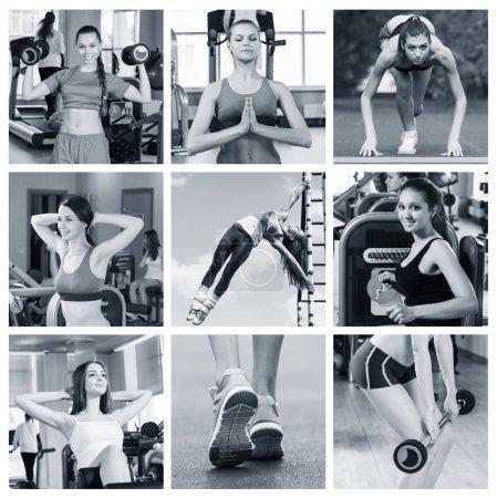 Photo pour Portrait de la femme sportive faisant de l'exercice physique dans la salle de gym - image libre de droit