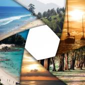 Collage of tropical seas with blank space